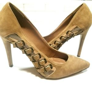 Michael Antonio side buckle suede heels size 8.5